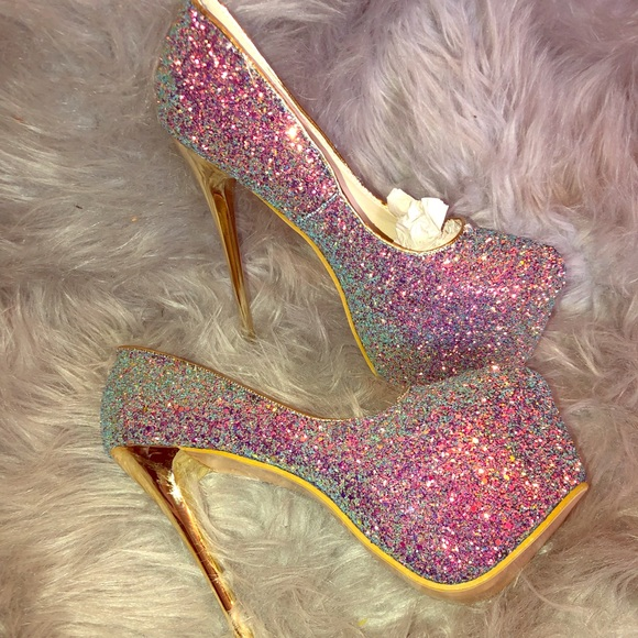 rainbow glitter high heels